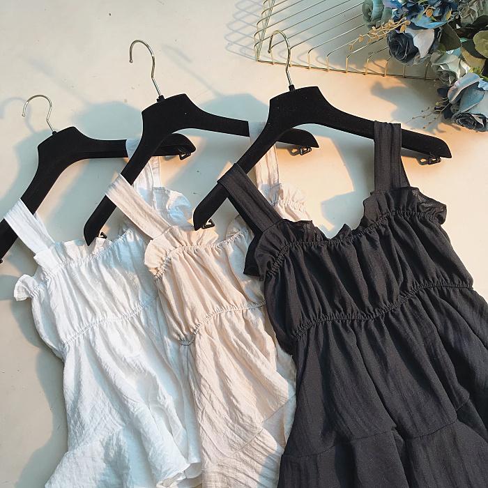 港味chic溫柔風純色系帶鬆緊荷葉邊小裙擺吊帶背心顯瘦外穿上衣女