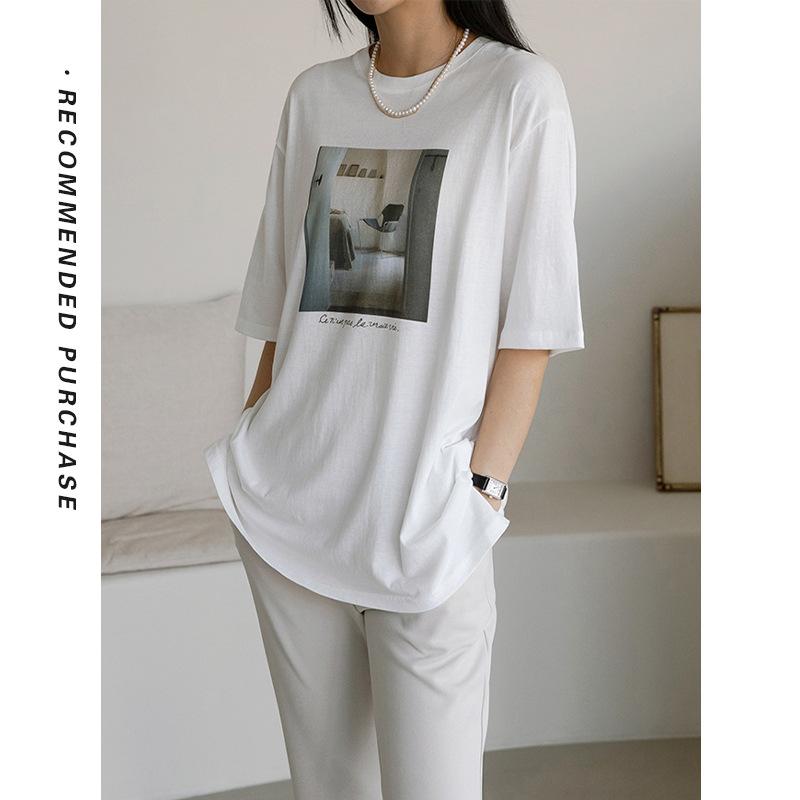 韩国东大门2021新款宽松印花图案T恤女休闲半袖上衣-T200