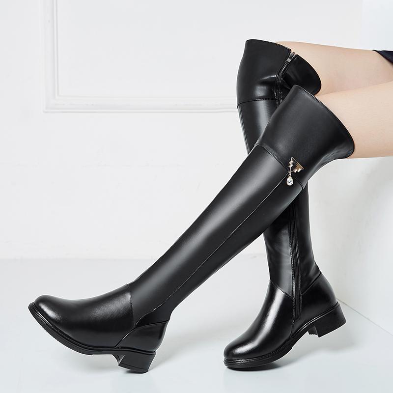女靴女平底长筒靴真皮大码高筒靴过膝靴中跟显瘦加绒保暖真皮棉靴