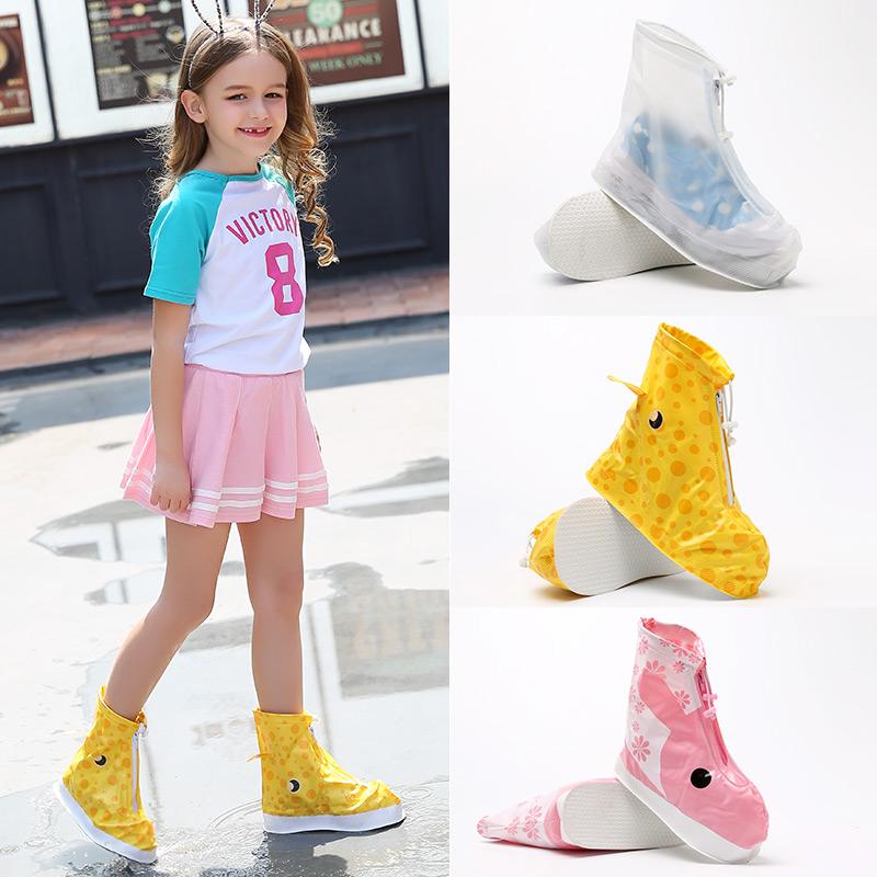 满12.80元可用1元优惠券卡通耐磨防滑男女儿童包边雨鞋套轻便中低筒加厚防水可爱学生脚套