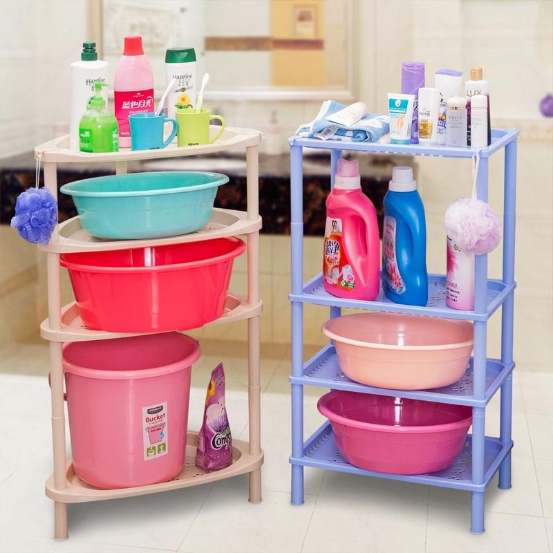 バスルーム棚トイレ収納棚トイレ洗面台トイレの洗面台、洗面台の三角形棚プラスチック製の床につく棚