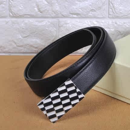 正品品牌男士真皮皮带 不锈钢格纹带头平滑扣头层牛皮男腰带
