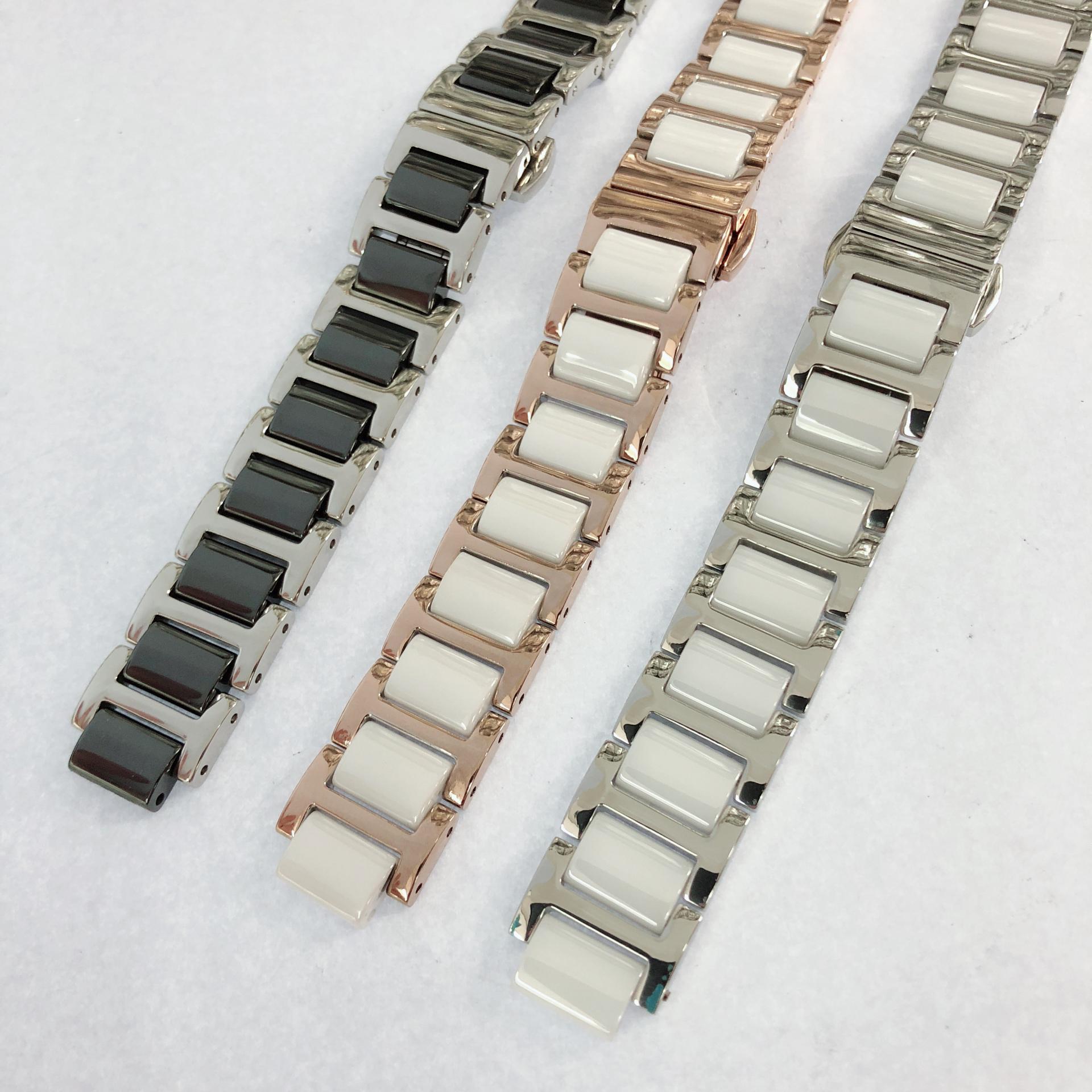 陶瓷不锈钢手表带男手表链女配件DW飞亚达卡西欧凸口表带钢带女款