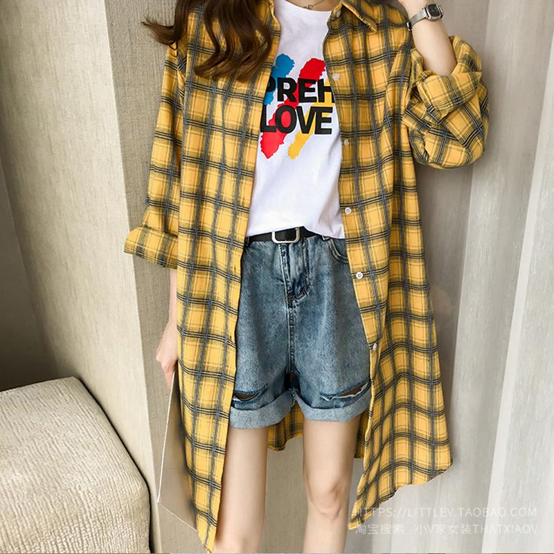 2019春季新款韩版宽松显瘦格子长袖薄款防晒衣外套中长款衬衫女潮