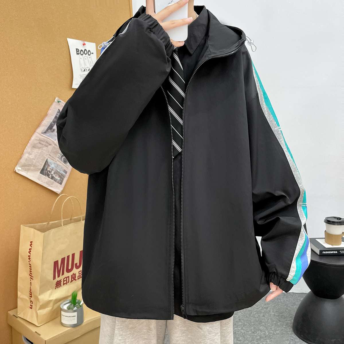 2021 new port Style Mens casual simple and versatile fashion printed jacket coat a110-jk6026-p80