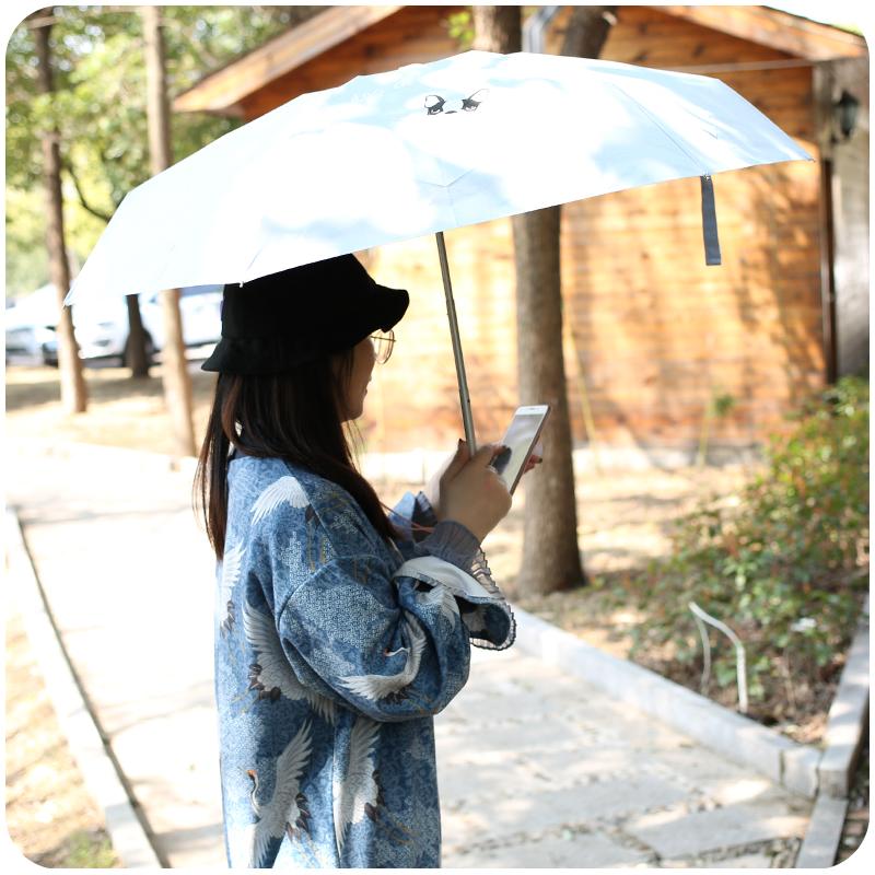 创意卡通马卡龙纯色晴雨伞学生女雨具便携小巧五折迷你雨伞遮阳伞