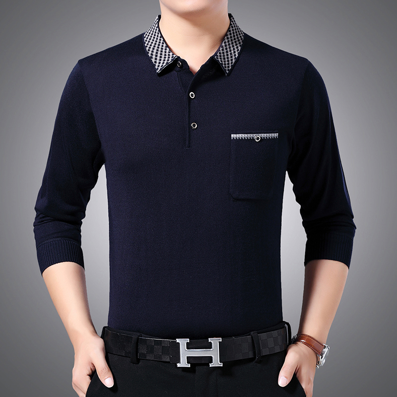 Spring new middle-aged long sleeve knitwear sweater t-shirt mens Polo Top plus fat plus size 200jin dads