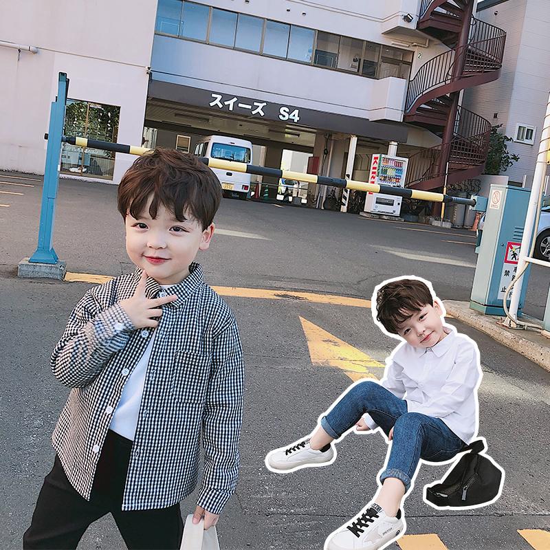 源源家 童装男童秋装儿童格子衬衫2019新款韩版长袖上衣宝宝女童