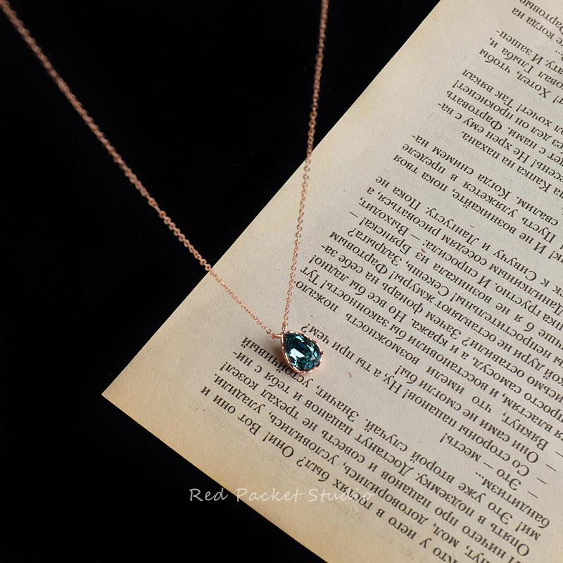 红口袋 S925纯银IU李智恩同款蓝宝石小众锁骨链复古深蓝水滴项链