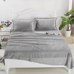 冬季素色单双人绒床单法兰绒毛毯