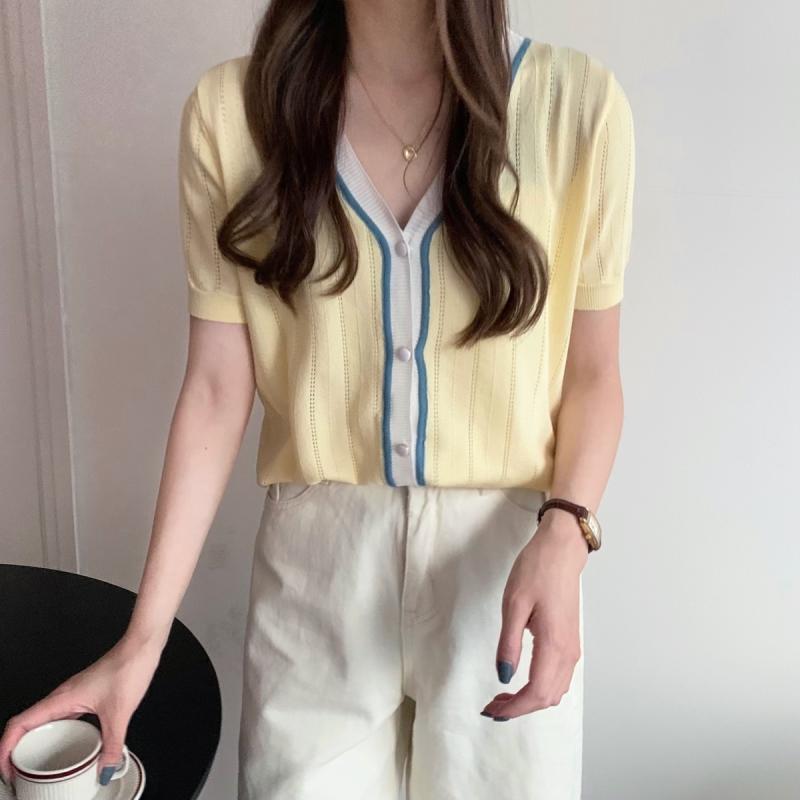 實拍65%粘膠35%聚酯纖維 短款短袖針織衫女開衫上衣
