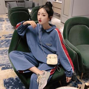 韓版網紅寬松休閑長袖外套闊腿九分褲女減齡套裝2372#實拍