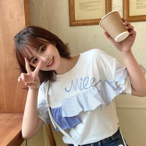 【100%純棉 】 韓版荷葉邊拼接T恤女短袖學生日系甜美上衣 網紅