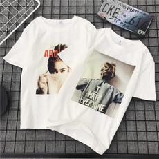 2018韩版港风春夏季新款纯色t恤女短袖圆领宽松显瘦学生女上衣服