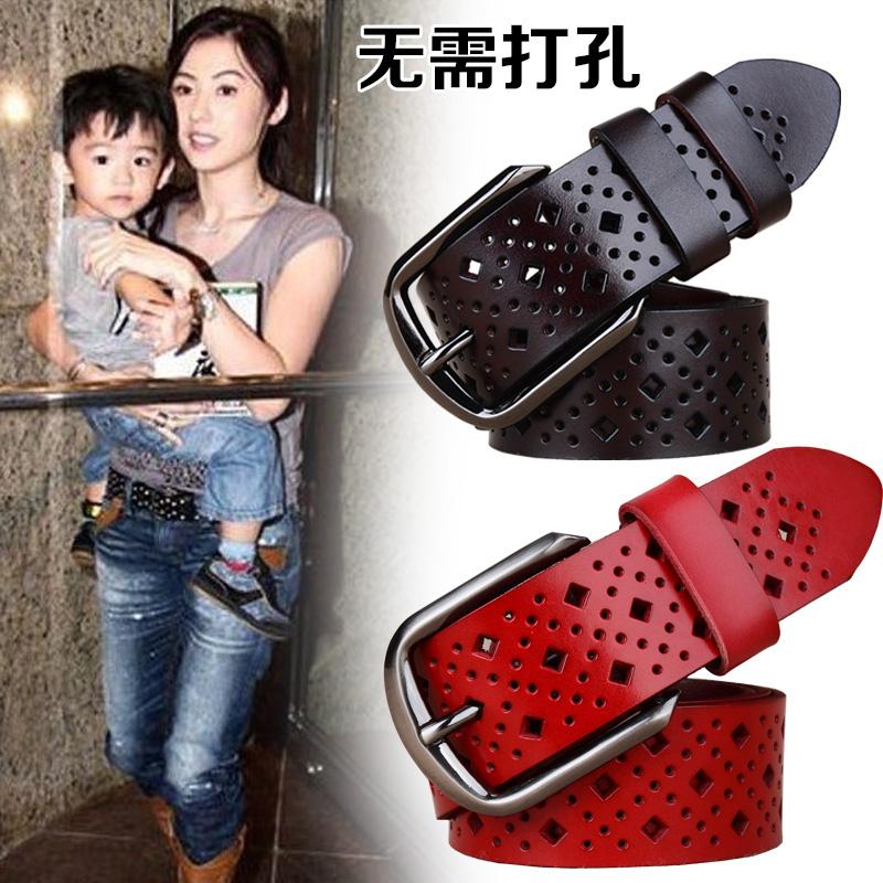 Fashion womens leather belt hollow out Korean jeans cowhide wide belt womens casual versatile simple belt fashion