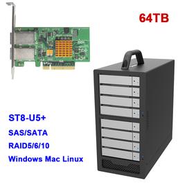 包邮64TB Stardom ST8-U5+8盘位miniSAS 6Gb磁盘阵列视频后期存储支持黑苹果Mac OS/windows台式机4K视频剪辑