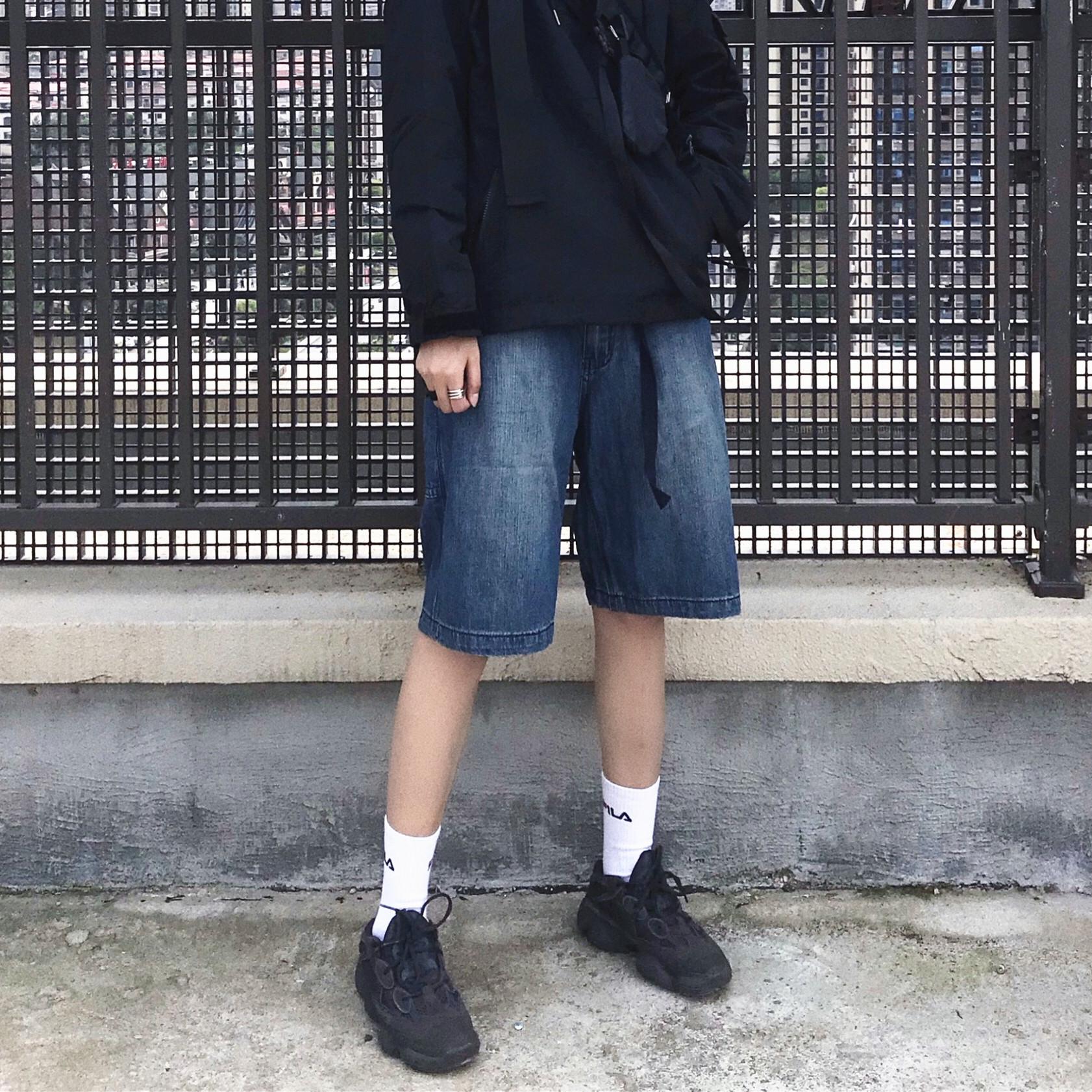 AVALONS日系复古水洗工装牛仔短裤宽松直筒国潮牌男女 情侣休闲裤