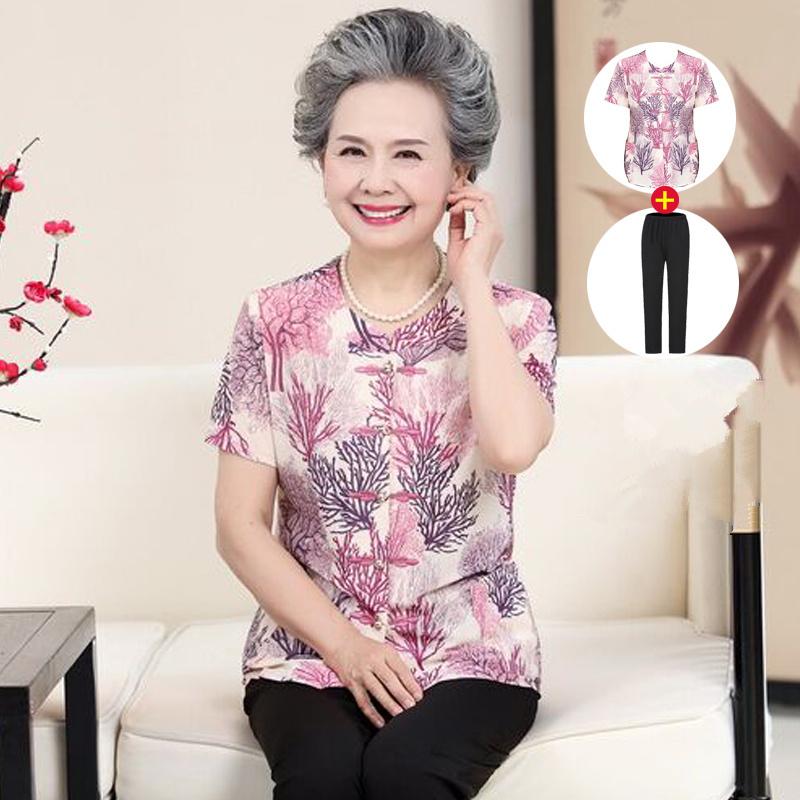 中老年人夏装女装奶奶装七分袖老人套装春夏装6070妈妈装夏装短袖