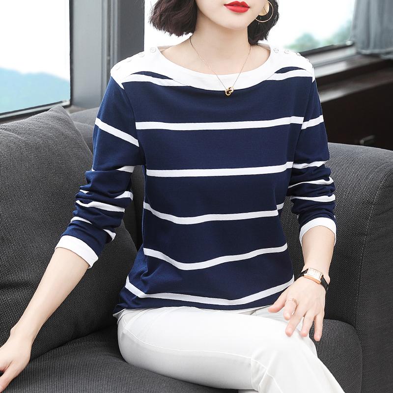 长袖t恤女2020春装新款宽松纯棉妈妈春衣外穿中年洋气打底衫