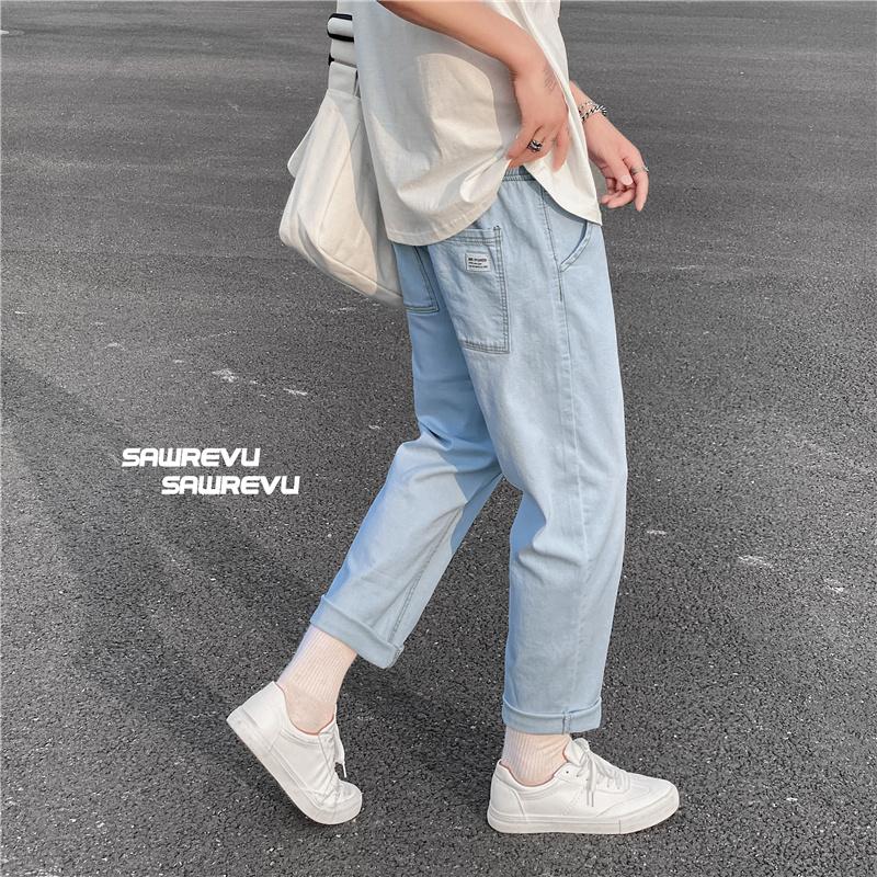 牛仔裤小直筒韩版潮流休闲长裤子男生小脚微弹九分裤秋季1107-P35