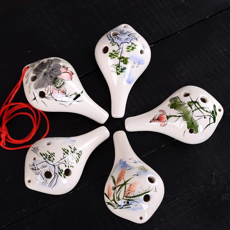 初学陶笛 学生6孔中音C调陶笛 六孔AC调熏烧陶笛送自学配件埙乐器
