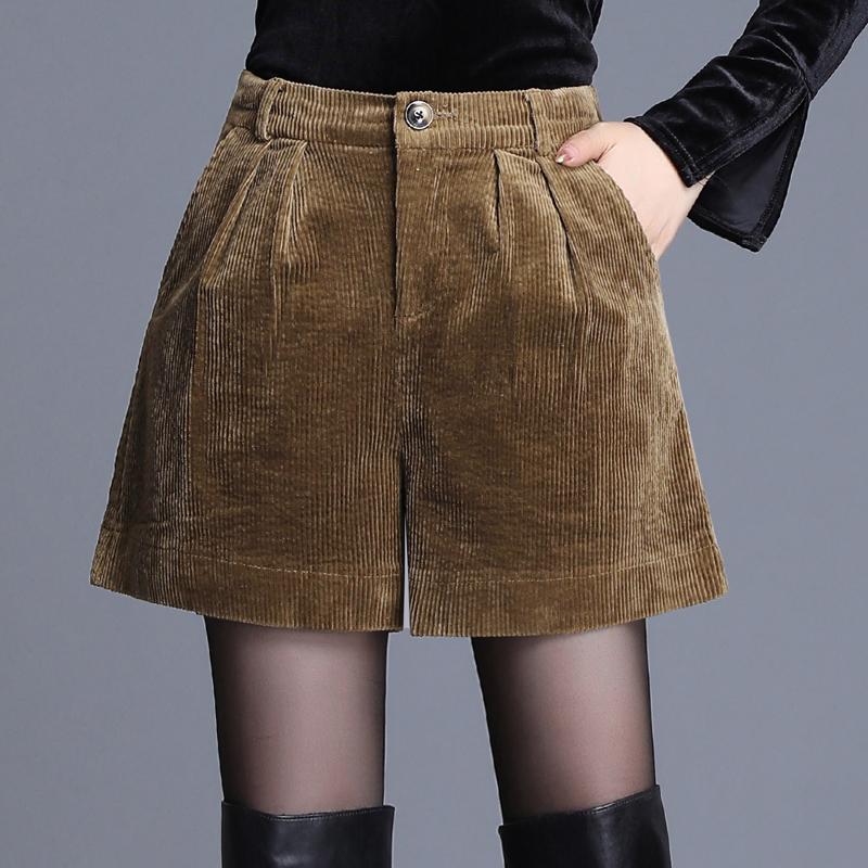 Corduroy shorts womens new fall / winter 2019 outerwear loose wide leg pants high waist Korean boot pants striped short pants