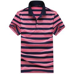 2018夏季新品商务休闲男士短袖条纹T恤polo衫81668(48-56)P105