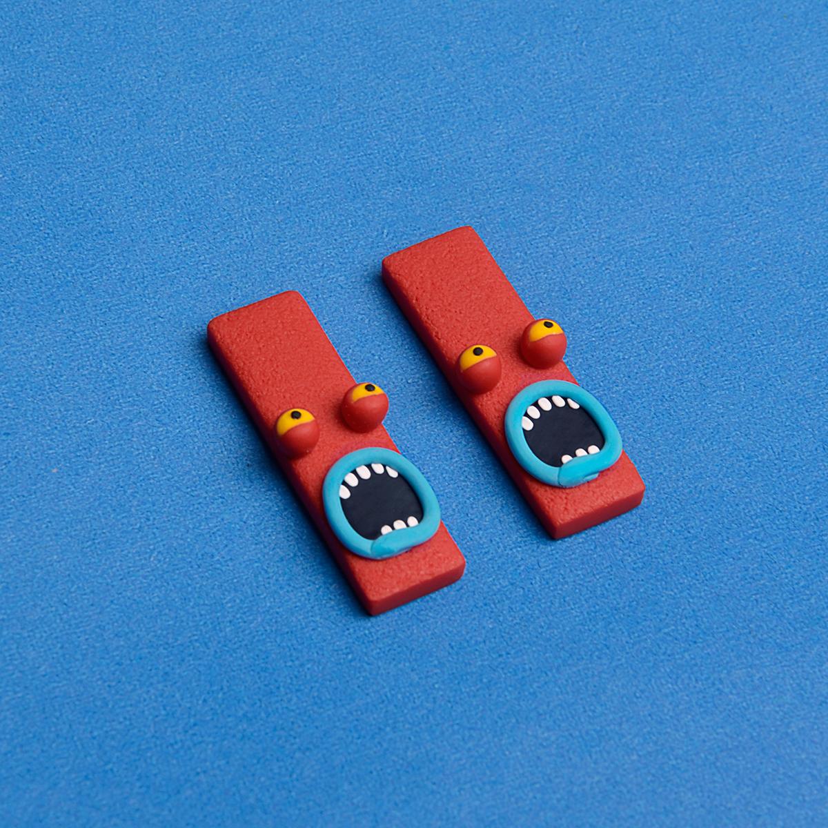Zhibus original design cartoon funny red monster Earrings Handmade soft clay funny Earrings female earrings clip