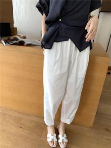 高端女装宽松休闲高腰休闲裤2021春季薄款萝卜裤白色显瘦