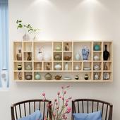 饰柜置物架格子架 实木格子柜墙上悬挂柜茶具收藏展示柜装 包邮