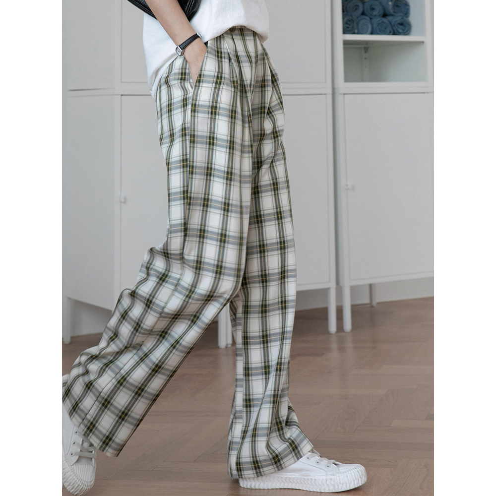 Retro Plaid casual pants high waist straight pants womens pants summer loose wide leg pants show thin floor pants