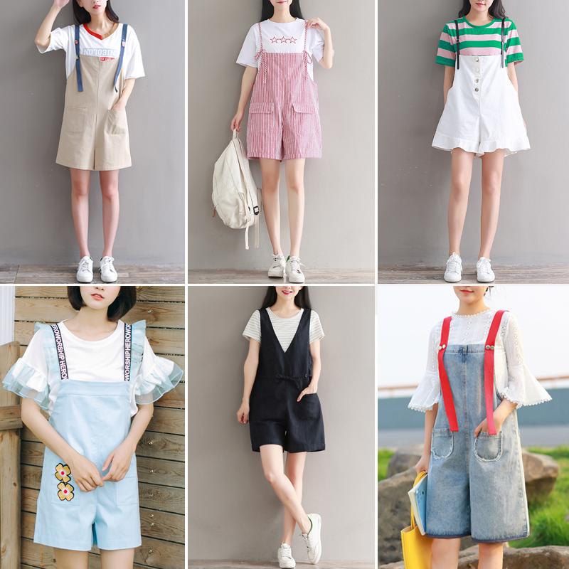 棉麻背带裤夏女2017新款韩版学生短裤+文艺t恤女短袖上衣两件套装