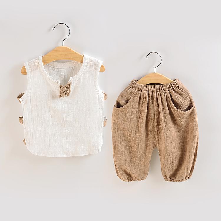 儿童棉麻背心套装2018夏季新款韩系男童女童宝宝短裤休闲两件套装