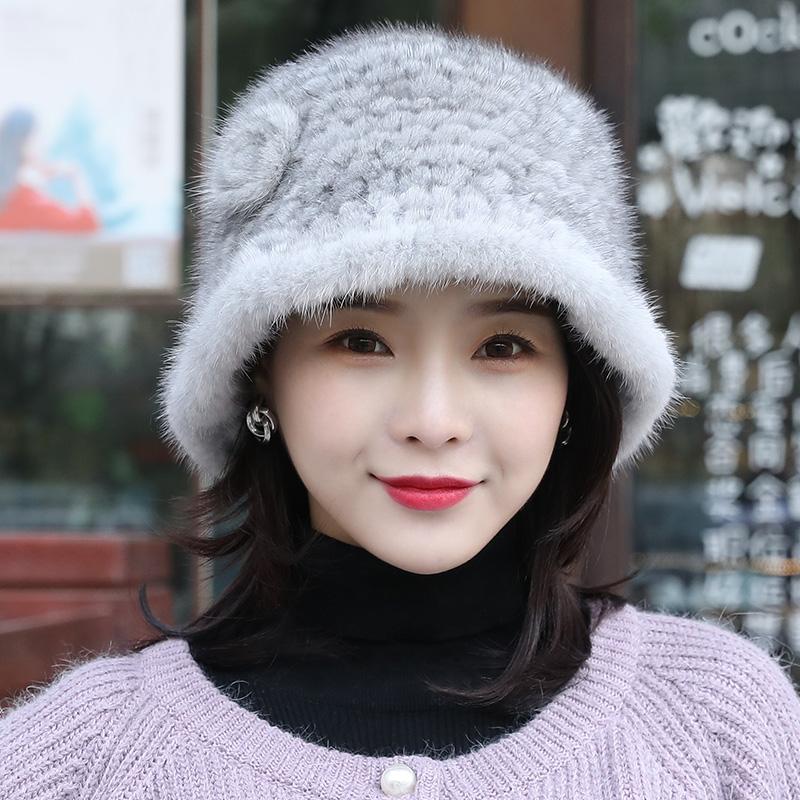 水貂毛渔夫帽女编织皮草貂绒卷边秋冬季韩版太阳帽护耳风雪帽盆帽