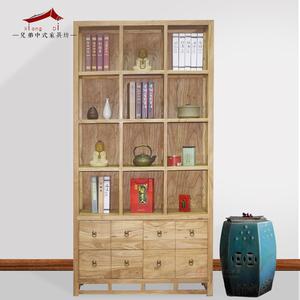 储物架老榆木实木新中式禅格子置物架书架带门住宅家具博古架包邮