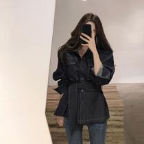 工装夹克女韩版2019新款春装洋气收腰显瘦系带牛仔上衣短款外套潮