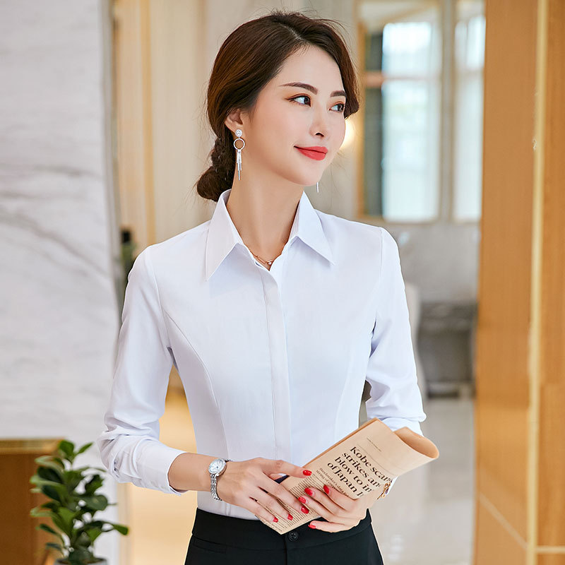 White shirt womens solid color long sleeve hidden button 2021 new Korean commuter work clothes anti gloss formal top