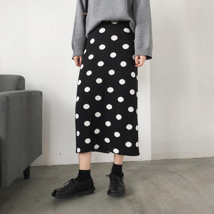 秋冬优雅波点高腰显瘦柔软半身裙满65.00元可用13元优惠券