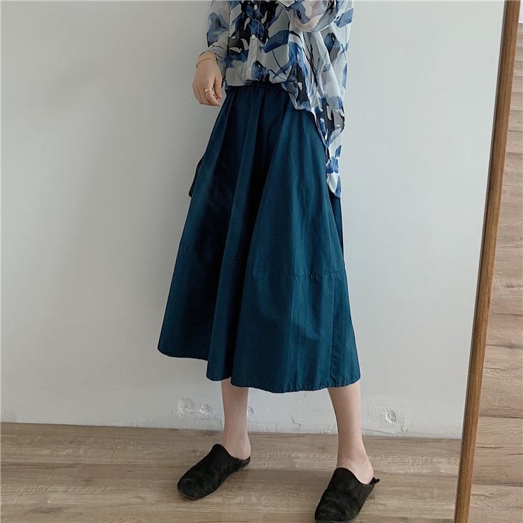 自留怒推 怎么穿都好看的纯色韩版半身裙 孔雀蓝/黑/白/卡其/焦糖