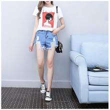 实拍B2020#夏季韩国高腰显瘦百搭条纹撞色流苏毛边牛仔短裤热裤女