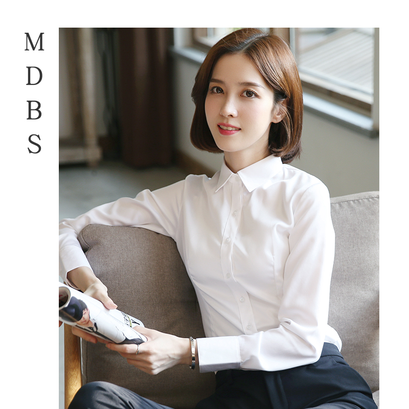 Pure cotton white professional shirt womens long sleeve work clothes slim interview formal shirt womens new fall / winter 2019