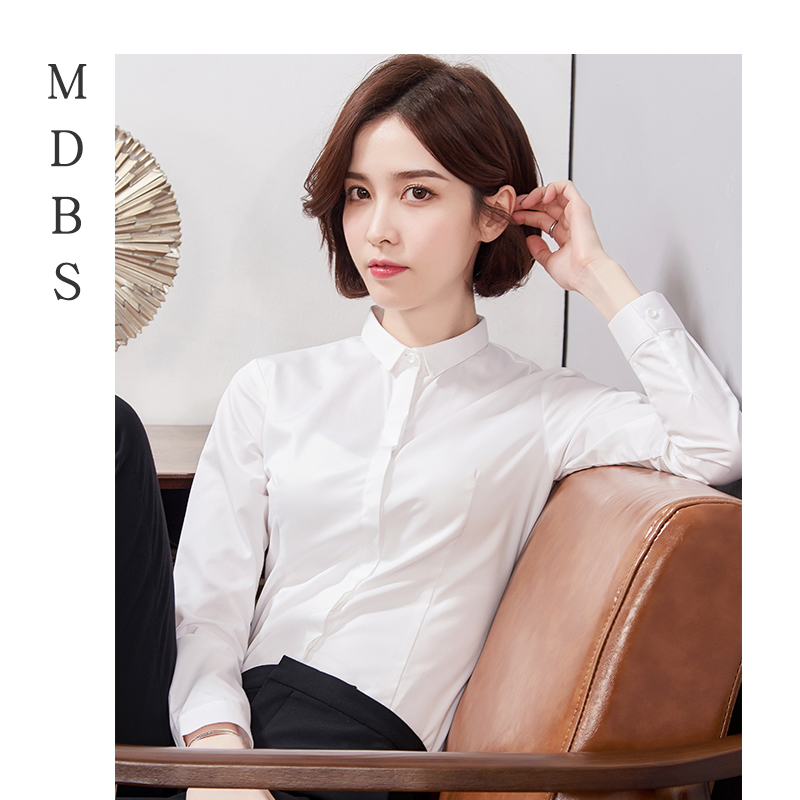Early autumn professional shirt womens long sleeve slim fitting small collar work clothes Korean formal white shirt work clothes