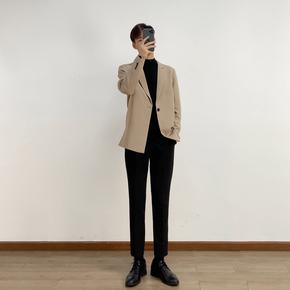 2021外套男春秋新款轻熟风男装单排扣小西装单西休闲西服男士韩版