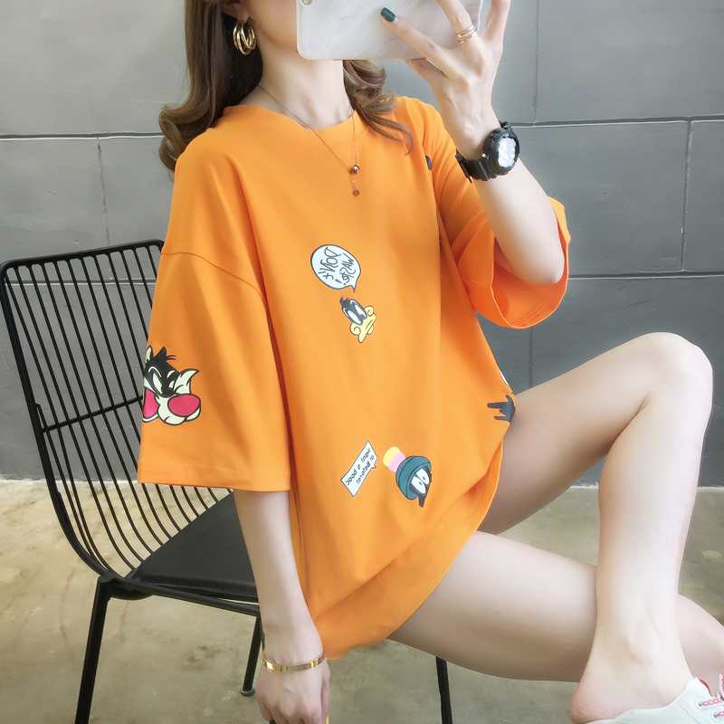 2020 summer mid long T-shirt 5-sleeve new printing cartoon short sleeve top orange womens simple Hong Kong Style