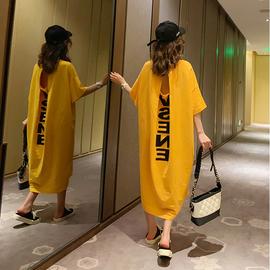 韩版长裙宽松肥大码200斤 短袖睡衣女性感露背孕妇遮肚家居睡裙夏