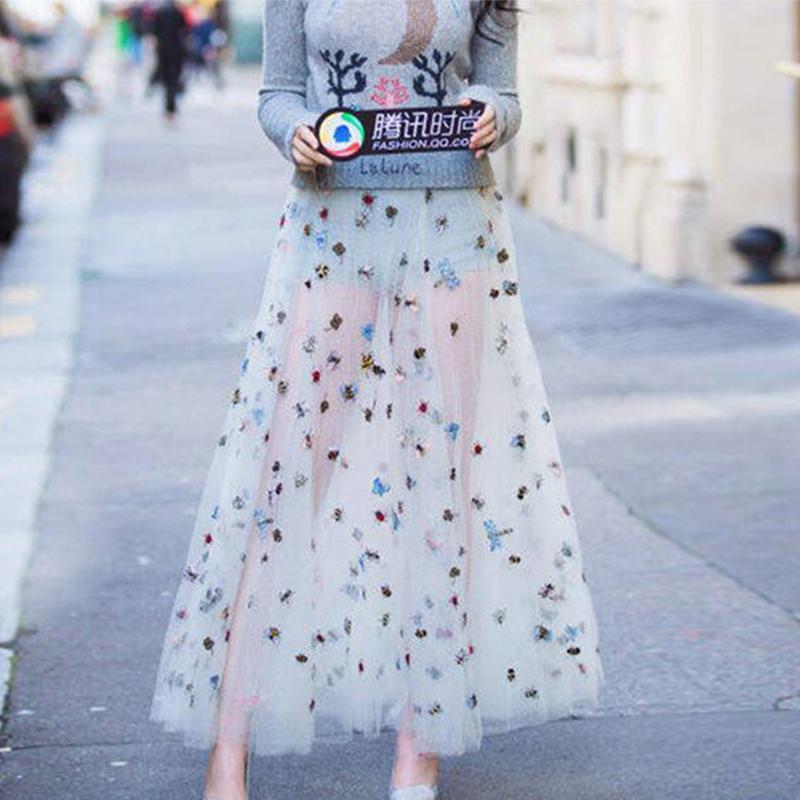 绣花网纱半身裙长裙蝴蝶昆虫小蜜蜂波点白色三层夏大码女超仙纱裙