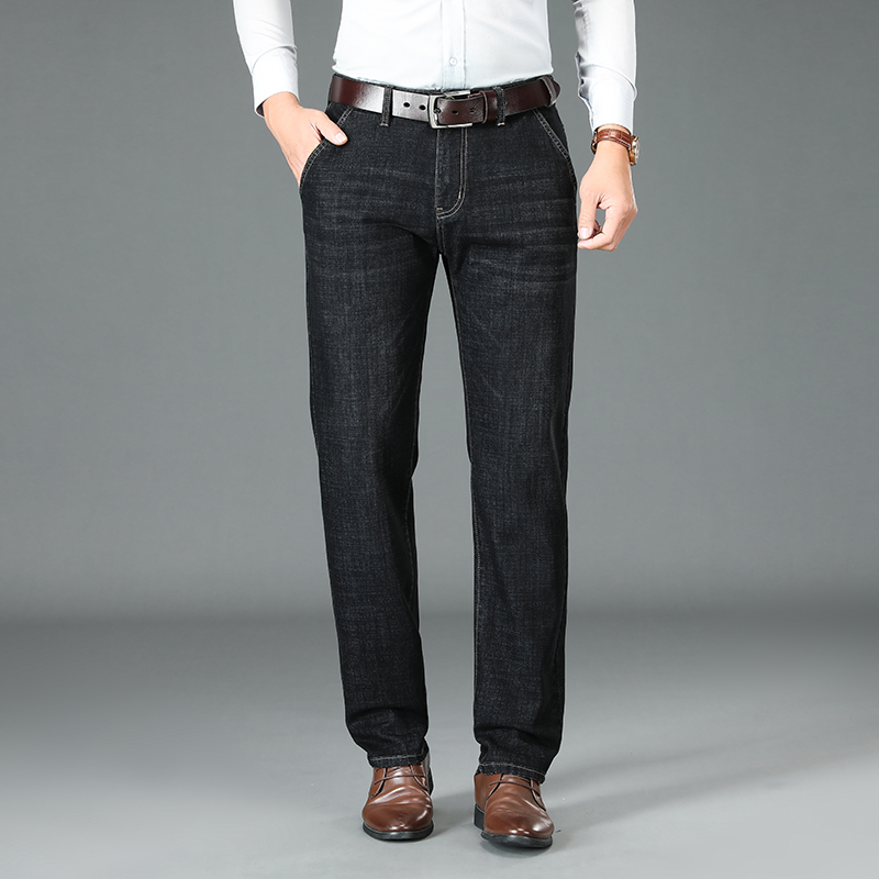 Jeans soil mens soft material mens straight tube loose 50-51-52-53-55 years old old old peoples clothes are not sticky and mature