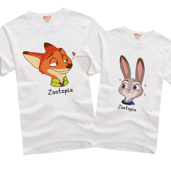 Disney cartoon spring and summer couple T-shirt crazy animal town Nick fox Judy rabbit cotton short sleeve