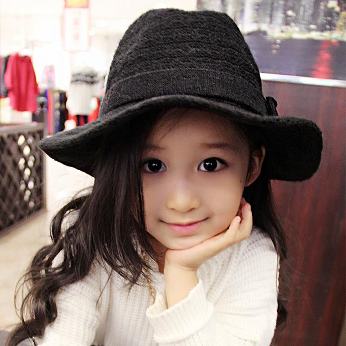 韩版春秋女儿童帽马海毛时尚大沿礼帽秋冬亲子羊毛帽爵士巴拿马帽