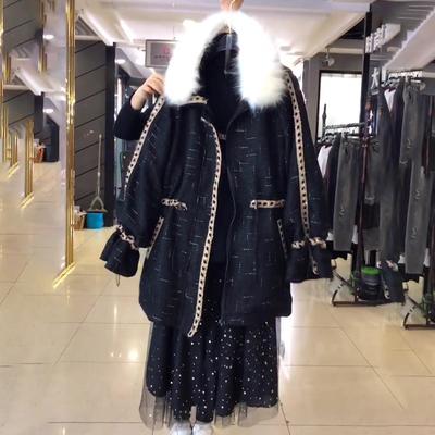 大码女装微胖妹妹秋冬季毛呢大衣外套显瘦肥mm打底衫半身裙两件套